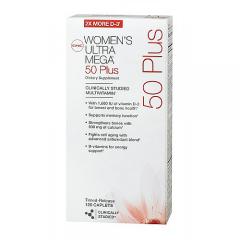 GNC Women's Ultra Mega 50 Plus - Viên bổ sung vitamin và khoáng chất cho phụ nữ ngoài 50, 120 viên.