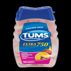 Tums Antiacid and Calcium Supplement Extra Strength 750, 96 viên: Giúp cải thiện những tình trạng rối loại tiêu hóa.