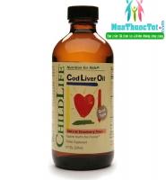 ChildLife Cod Liver Oil Strawberry - Thuoc dầu cá tuyết Bổ Sung Hàm Lượng DHA Tốt Nhất Cho Trẻ, 237 ml