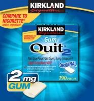 Kirkland Gum Quit2™ 2mg: Kẹo cai thuốc lá, 190 viên.