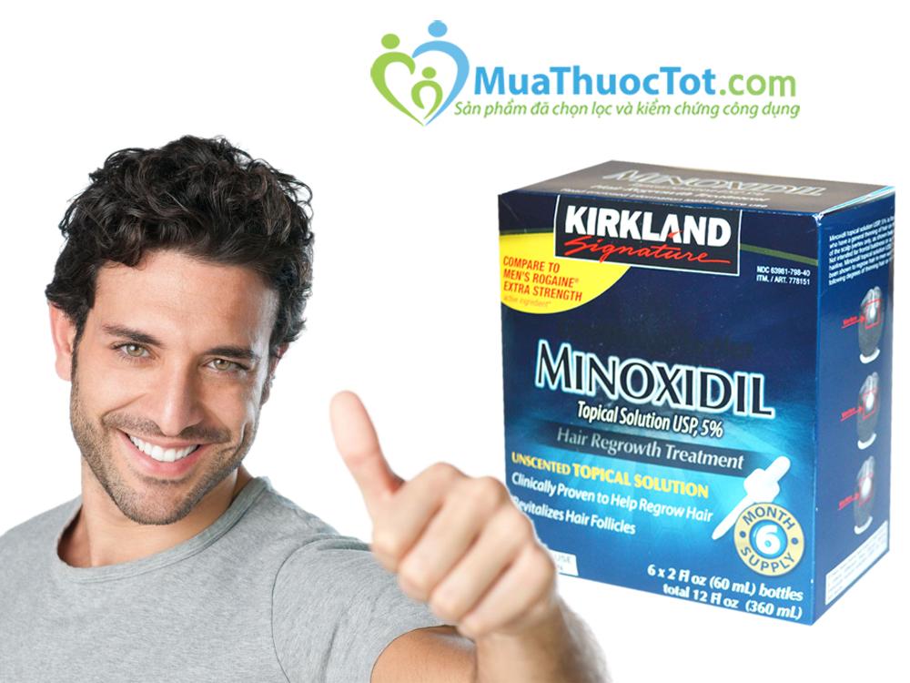 Dung dịch mọc tóc minoxidil 5% kirkland của mỹ chống rụng tóc và hói đầu cho nam giới, hộp gồm 6 chai