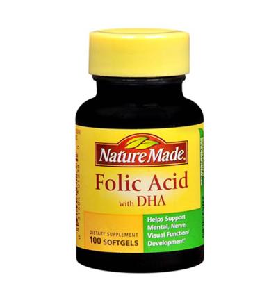 Nature Made Folic Acid With DHA 600mcg 300 viên: giúp bổ sung Folic Acid và DHA cho phụ nữ mang thai