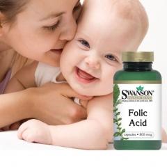 Viên uống bổ sung folic acid cho bà bầu Swanson Folic Acid 800 mcg 250 viên