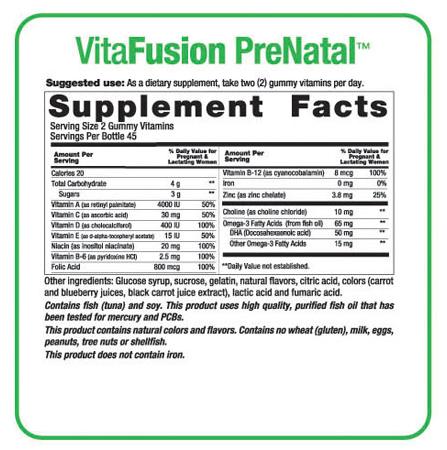 Thành phần của kẹo dẻo Gummy Vitafusion PreNatal giúp mẹ khỏe con thông minh