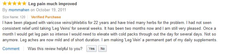 Đánh giá của khách hàng khi dùng thuốc trị giãn tĩnh mạch Legs Veins Natural's Way