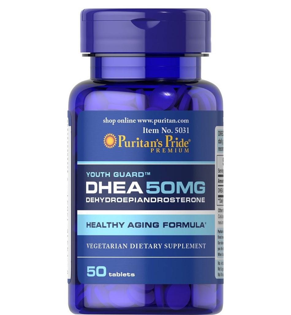 Puritan's Pride Premium DHEA 50MG: Viên tăng cường hệ miễn dịch, bồi bổ trí nhớ, tăng khả năng ham muốn, 50 viên.