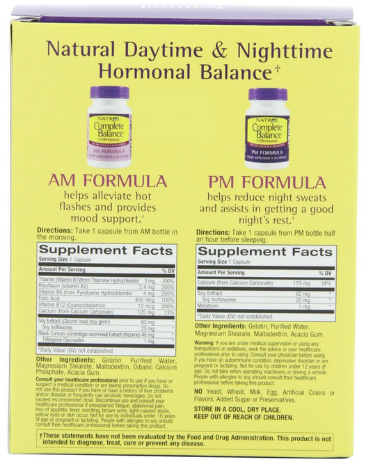 Natrol Complete Balance® for Menopause AM/PM Formula gồm 2 lọ, mỗi lọ 30 viên