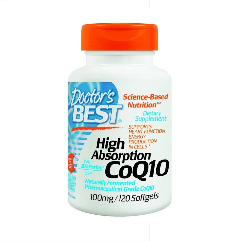 Doctor's Best Hight Absorption CoQ10,100Mg: Viên uống hỗ trợ chức năng tim mạch, 120 viên.