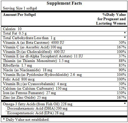 Thành phần dinh dưỡng trong Nature Made Prenatal DHA
