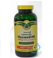 Spring Valley Flaxseed Oil 240 mg 200 viên: Dưỡng chất hỗ trợ điều trị bệnh tim mạch