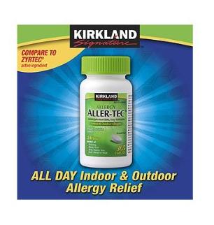 Kirkland Signature Aller-Tec Cetirizine Hydrochloridegiảm các triệu chứng sốt cỏ khô hoặc di ứng các đường hô hấp
