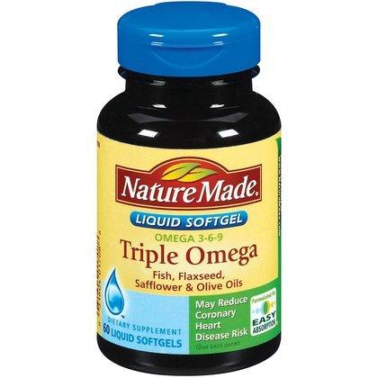Nature Made Triple Omega Liquid Softgels – Viên bổ sung omega chăm sóc sức khỏe tim mạch, 60 viên