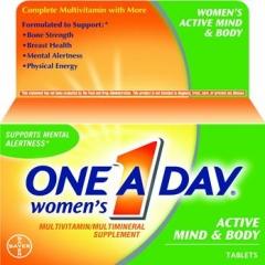 One-a-day Women's Active Mind and Body Multivitamin, bổ sung vitamin và khoáng chất giúp bổ não và cung cấp năng lượng cho cơ thể, 50 viên