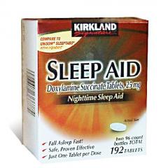 Kirkland Signature Sleep Aid Doxylamine succinate: Viên hỗ trợ điều trị mất ngủ, 192 viên, 25 mg