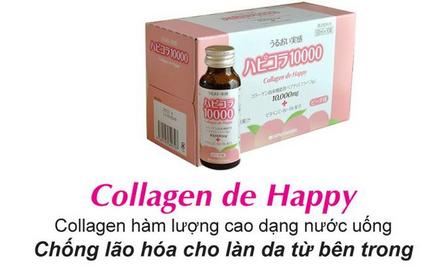 Collagen de happy 10000mg dạng nước giúp ngăn chặn quá trình lão hóa cơ thể, hộp 10 chai