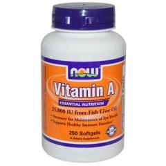 Now Foods Vitamin A Essential Nutrition 25000 IU- bổ sung vitamin A cho cơ thể, 250 viên