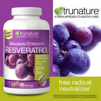 Trunature® Maximum Strength Resveratrol chiết xuất tự nhiên từ rượu nho, chống oxy hóa