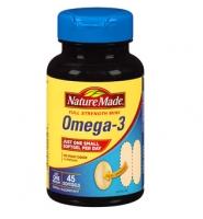 Nature Made Omega-3 Full Strength Mini: Viên hổ trợ sức khỏe tim mạch và làm giảm nguy cơ mắc bệnh tim mạch vành, 45 viên
