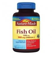 Nature Made Fish Oil Dietary Supplement: Thuốc cung cấp omega- 3 và phòng ngừa bệnh tim mạch, 110 viên, 120 mg
