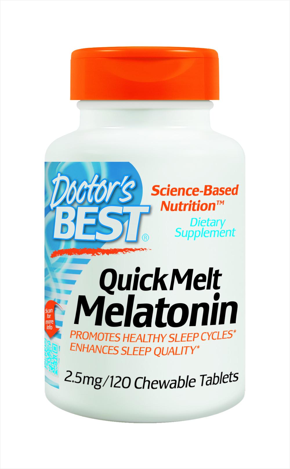 Quick Melt Melatonin 2.5mg Doctors Best giúp an thần, ngủ ngon, tăng cường sức khỏe
