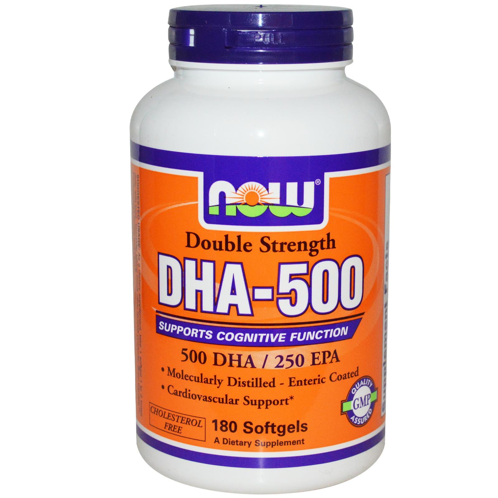 NOW Foods DHA- 500: Viên uống bổ sung DHA cho cơ thể, 180 viên