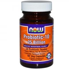 NOW Foods Probiotic-10 25 Billion: Viên cung cấp Probiotic, giúp duy trì đường ruột và hệ tiêu hóa khỏe mạnh, 50 viên