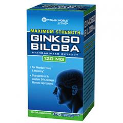 Vitamin World Ginkgo Biloba 100 viên - bổ não, tăng cường trí nhớ, hỗ trợ máu lưu thông máu não và tứ chi.