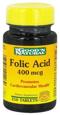 Good'n natural folic acid, 400mcg – bổ sung axit folic giúp bổ máu và hỗ trợ sức khỏe tim mạch, 250 viên