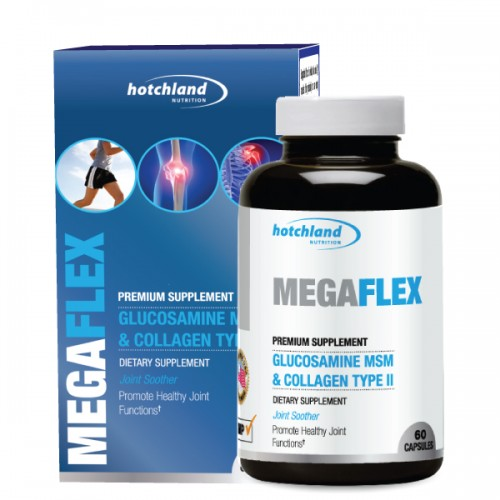 HOTCHAND Nutrition's MegaFlex Glucosamine MSM& Collagen Type II giúp giảm đau nhanh, hỗ trợ khớp và mô liên kết khỏe mạnh