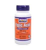 Now food Folic Acid With Vitamin B12: Thuốc hỗ trợ điều trị bệnh loạn máu, thiếu máu, 250 viên
