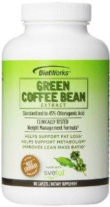 Viên uống giảm cân, bảo vệ sức khỏe tim mạch dietworks green coffee bean extract 180 viên