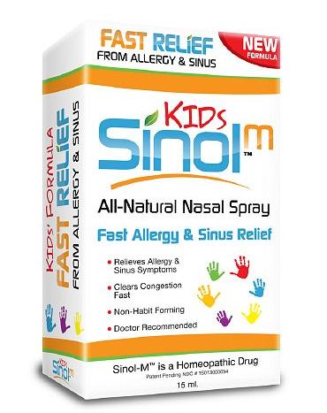 Sinol- M Fast relief from Allergy & Sinus Kids hỗ trợ điều trị các triệu chứng của viêm mũi dị ứng và viêm xoang, viêm mũi