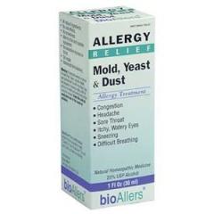 BioAllers Mold, Yeast & Dust: Thuốc hỗ trợ điều trị các triệu chứng dị ứng đau họng, nghẹt mũi, hắt hơi, ngứa mắt, chảy nước mắt, 30 ml