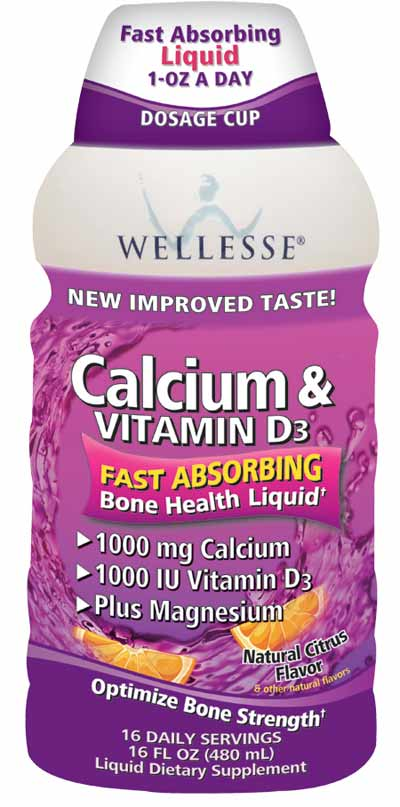 Wellesse Calcium & Vitamin D3 Natural Citrus Flavor Liquid Dietary Supplement bổ sung đầy đủ canxi, viatmin D3