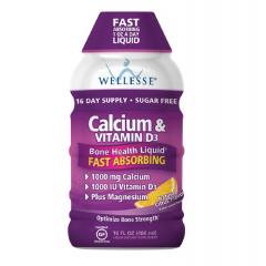 Wellesse Calcium & Vitamin D3 Natural Citrus Flavor Liquid Dietary Supplement - Nước uống bổ sung canxi, Vitamin D3 , 480 ml