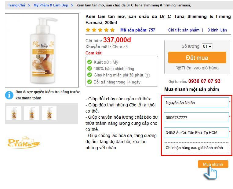 """Hướng dẫn cách """"mua nhanh một sản phẩm"""" trên web muathuoctot.com"""