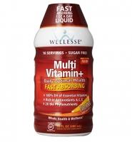 Nước uống cung cấp vitamin và khoáng chất: Wellesse Liquid Multivitamin+ Sugar Free Dietary Supplement, 480 ml