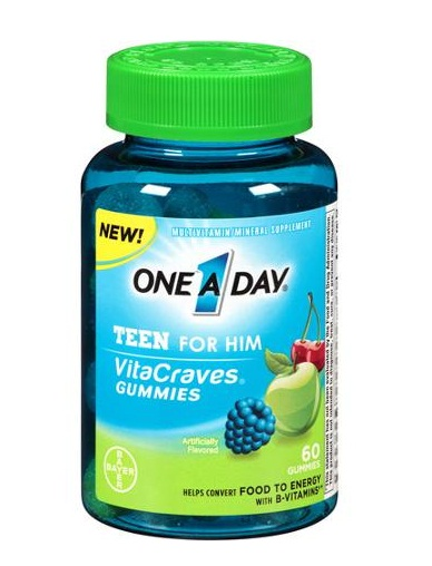 One a day vitacraves teen for him multivitamin gummies , 60 viên: tpcn bổ sung vitamin và khoáng chất cho nam giới tuổi dậy thì