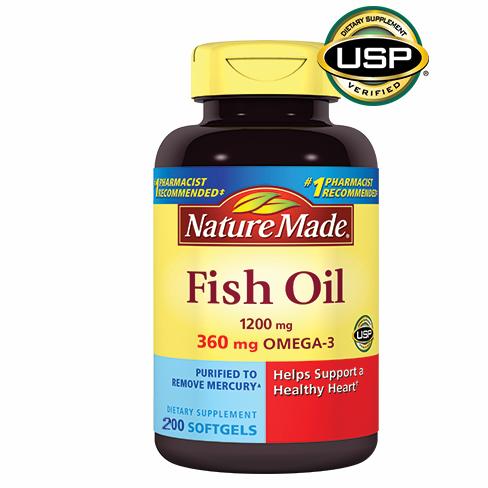 Viên uống hỗ trợ sức khỏe tim mạch nature made fish oil 1200mg omega 3 của mỹ hộp 200 viên