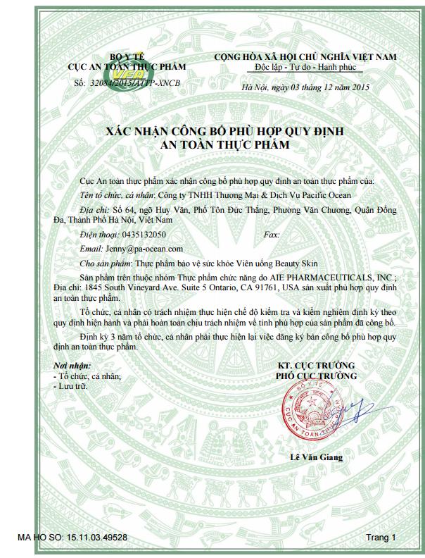 giấy chứng nhận cho viên uống Beauty Skin