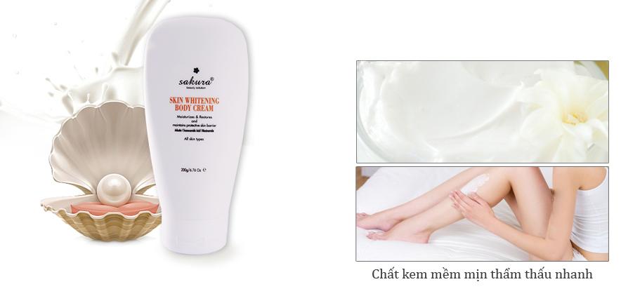 Kem dƯỠng rẮng da toÀn thÂn sakura skin whitening body cream 200g