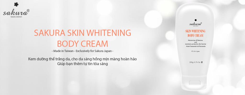 Kem dưỡng trắng da toàn thân sakura skin whitening body cream 200g
