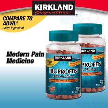 Thuốc giảm Đau hạ sốt kirkland ibuprofen 200mg chai 500 viên