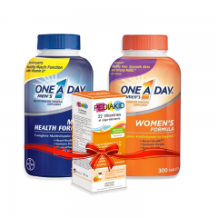 Combo Gia đình sống khỏe: One A Day Men's Multivitamin + One a Day Multivitamin Women's + Pediakid 22 Vitamines