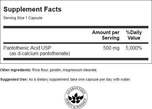Viên uống bổ sung vitamin b5 swanson pantothenic acid 500mg, 250 viên - mỹ