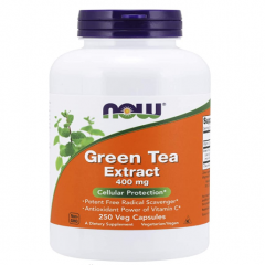 NOW Green Tea Extract 400 mg with Vitamin C, Cellular Protection*, Viên uống chống Oxy hóa 250 viên
