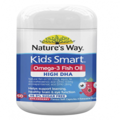 Dầu cá Omega 3 cho trẻ - Kid Smart Nature's Way Omega 3 Fish Oil Strawberry (50 viên)