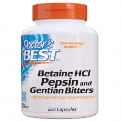 Doctor's Best Betaine HCI Pepsin & Gentian Bitters, Enzyme hỗ trợ tiêu hóa và hấp thụ protein 120 Capsules