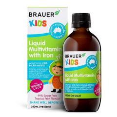 Brauer Kids Liquid Multivitamin with Iron Bổ Sung Vitamin Tổng Hợp Cho Bé 200ml